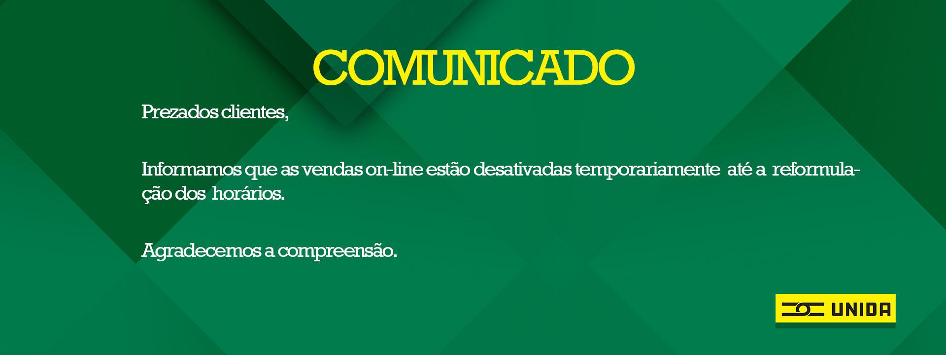Comunicado Vendas on-line